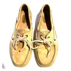 Sperry top sider beige pink plaid loafer shoes